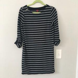 Gray and black stripe dress